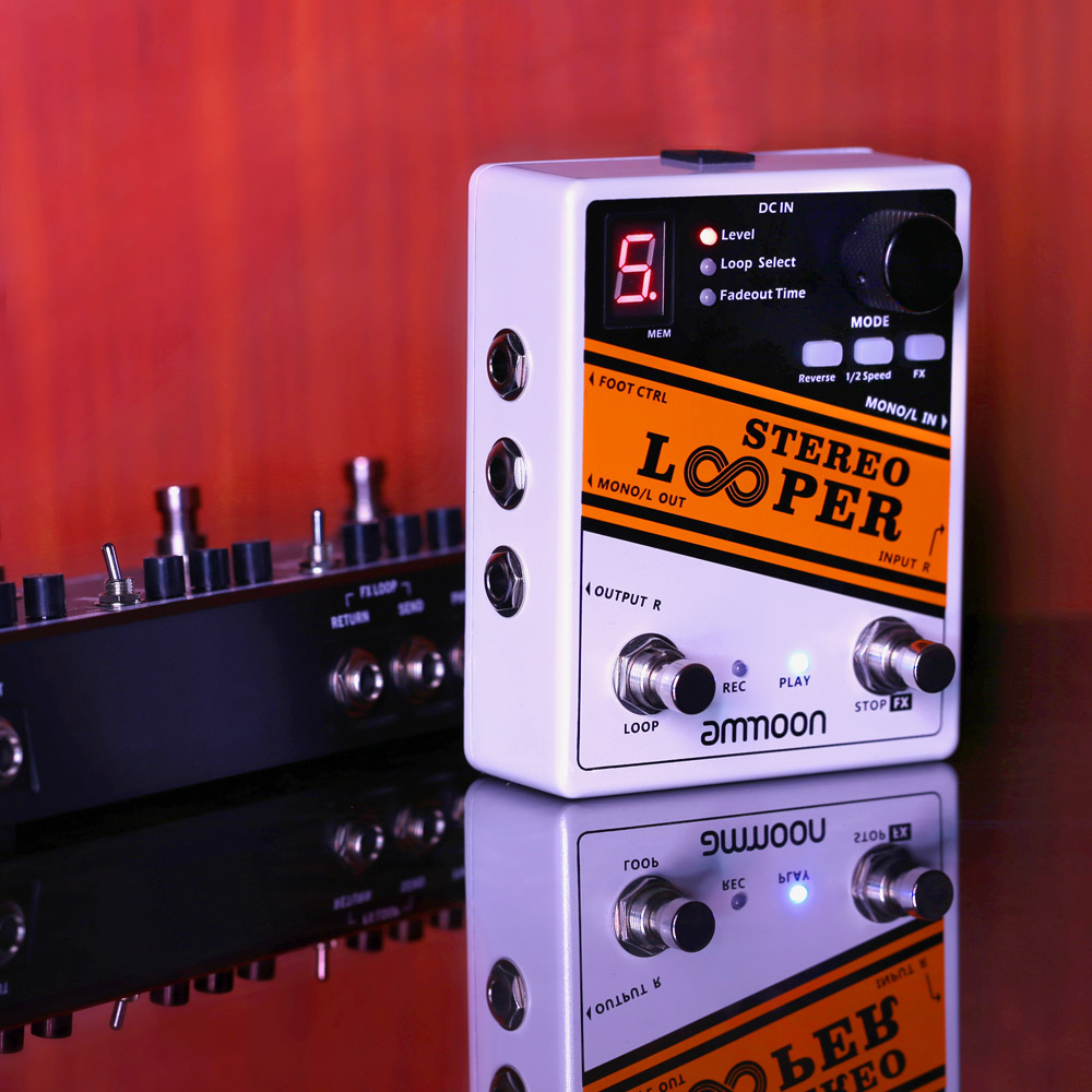 buy ammoon stereo looper guitar pedal loop record guitar effect pedal 10. Black Bedroom Furniture Sets. Home Design Ideas