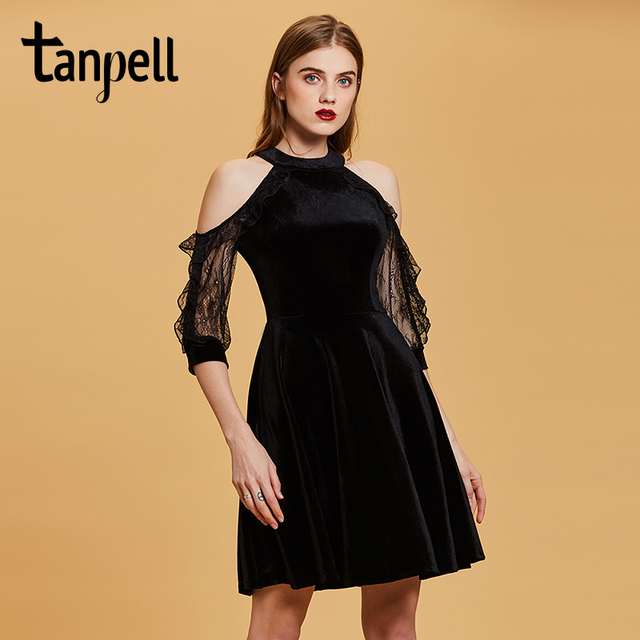 Tanpell halter short cocktail dress black prom knee length a line gown women party sexy open shoulders velvet cocktail dresses