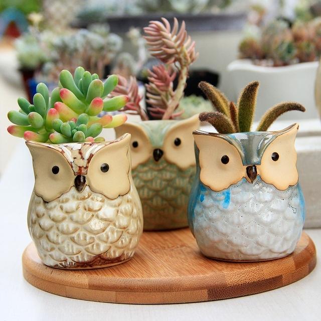 WCIC Ceramic Owl Flower Pot Small Clay Pot Succulent Lovely Indoor Garden Plants Nursery Pots Desktop Flower Bonsai Planter