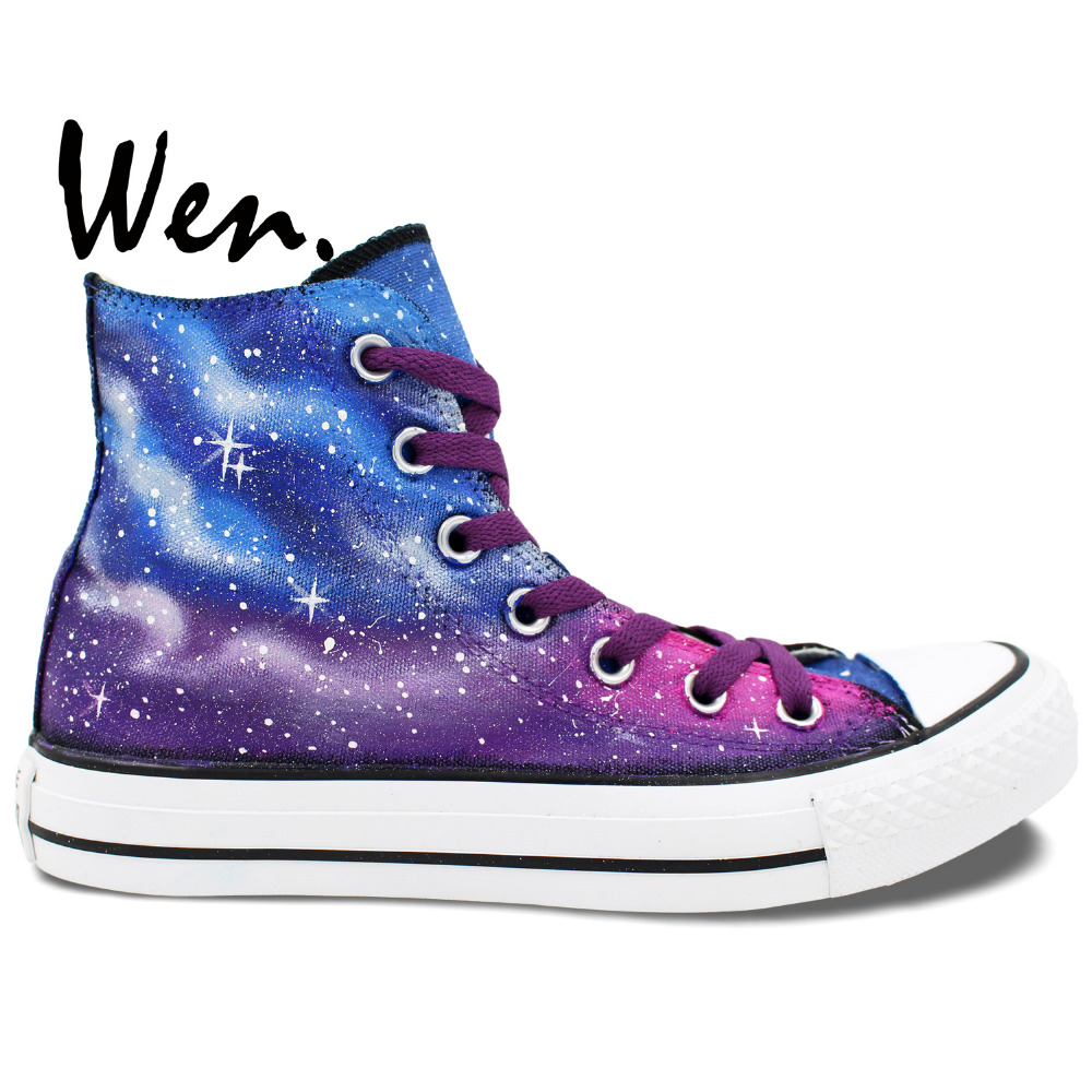 54ab4c7379ed2e Wen Sneakers Original Hand Painted Shoes Purple Blue Galaxy Design Custom  High Top Women Men s Canvas Shoes Birthday Gifts Art