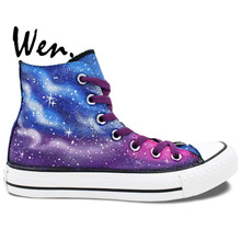 Wen Sneakers Original Hand Painted Shoes Purple Blue Galaxy Design Custom High Top Women Men's Canvas Shoes Birthday Gifts Art