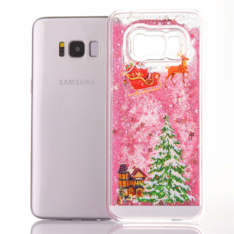 1Pcs Quicksand Star Glitter Christmas Tree Santa Claus Phone Case For Samsung Galaxy S4 S5 S6 S7 Edge S8 S9 Plus Note 3 4 5 8 9