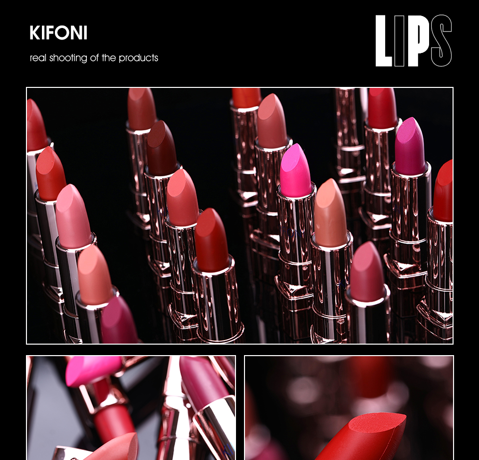 HTB1k5ghIhWYBuNjy1zkq6xGGpXaO New Arrival KIFONI brand makeup beauty matte lipstick long lasting tint lips cosmetics lip stick maquiagem make up red batom