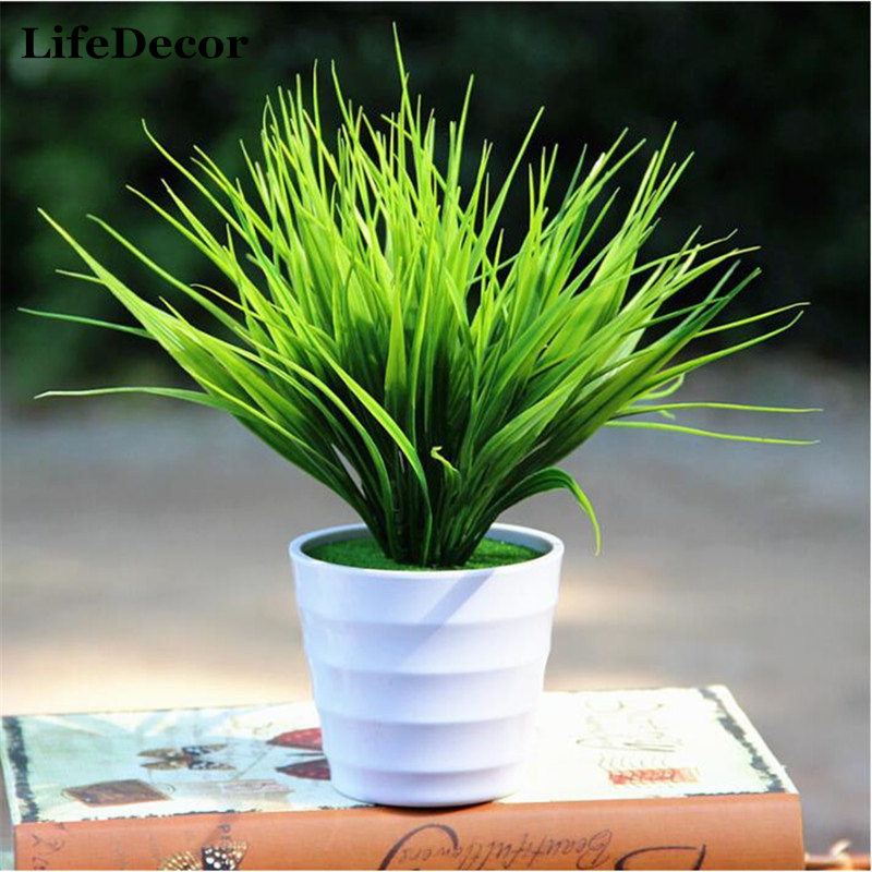 Green Artificial Plants For Simulation Flowers Home Hotel Store Dest Decor Decorative Plastic 7 Fork Spring Grass Free Shipping