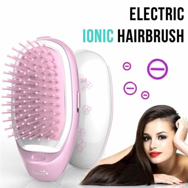 1 piezas portátil eléctrico Ionic cepillo para llevar Mini masaje 3D Mini  negativo cepillo de pelo ec1f4a3fe80d