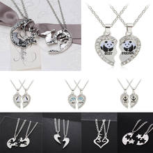 2PC Running Horse Deer Heart Pendant Chain Necklace Anchor Panda Dolphin Best Friends Necklaces Friendship Couples Jewelry Gifts(China)