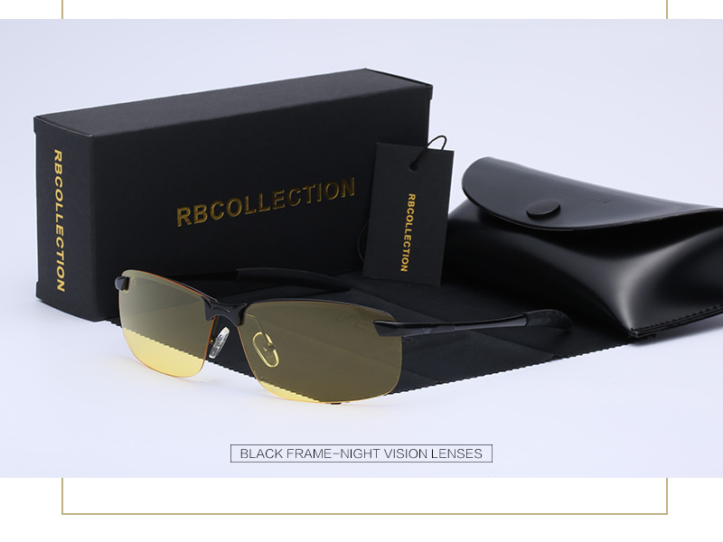 57167d9032 R.BCOLLECTION Men Night Vision Polarized Sunglasses Metal Semi ...