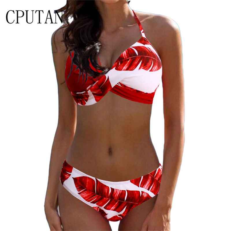 08fa39329d91b Bikini 2019 Push Up Women Swimsuit Set Halter Cross Bathing Suit Solid Plus  Size Two Piece