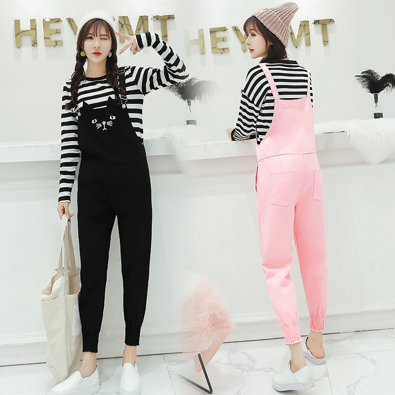 Fashion Women Denim Overalls Cute Cat Embroidery   Jumpsuits   2019 New Arrival Female Students Ankle-length Black Pink Bodysuits