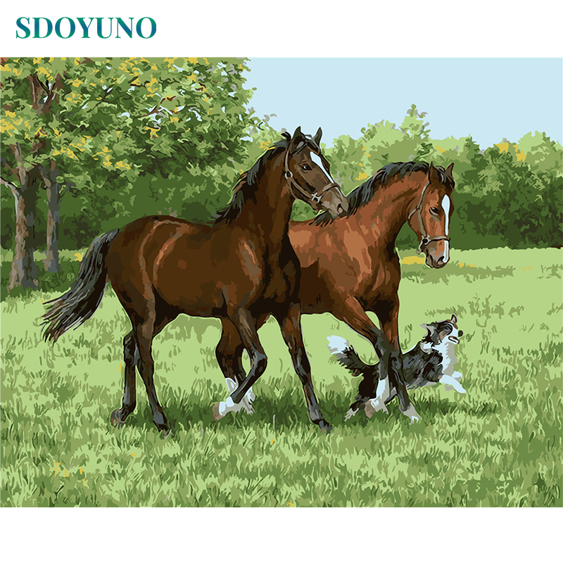 SDOYUNO Frame Horse Animals DIY Painting By Numbers Kits Acrylic Paint On Canvas Modern Wall Art For Home Decoration 40x50cm thumbnail
