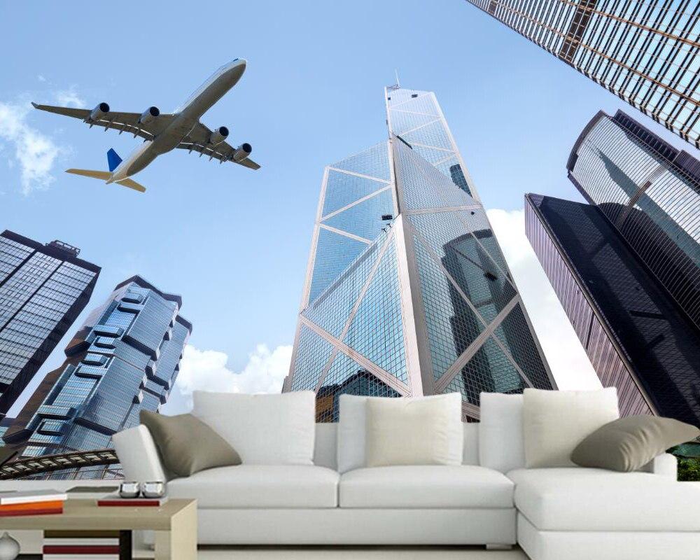 US $14 0 OFF Papel De Parede Pesawat Gedung Pencakar Langit Penumpang Pesawat Terbang Foto Wallpaper Ruang Tamu Sofa TV Dinding Kamar Tidur