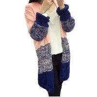 2018 חדש סתיו וחורף של הנשים ארוכות שיפוע צבע מעיל סוודר עיבוי סוודר סוודר טוויסט