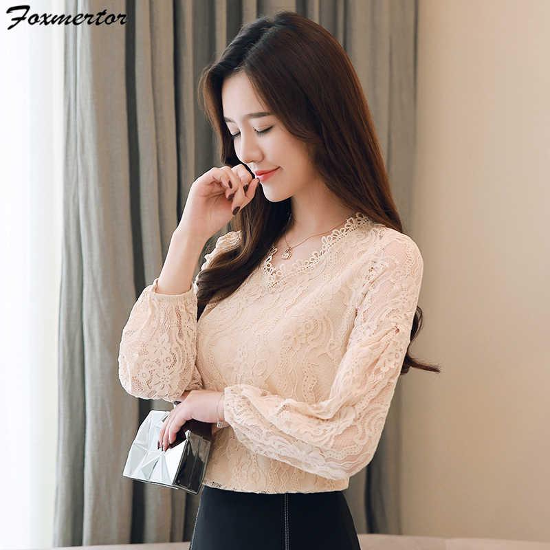Foxmertor ฤดูใบไม้ร่วงผู้หญิงสบายๆ V-Neck เสื้อลูกไม้เสื้อ 2019 ใหม่แฟชั่นเสื้อหญิงแขนยาวหลวม blusas
