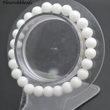 Wholesale 8mm White Porcelain Jade Stone Round Beads Elastic Line Bracelets Fashion Woman Jewelry(China)