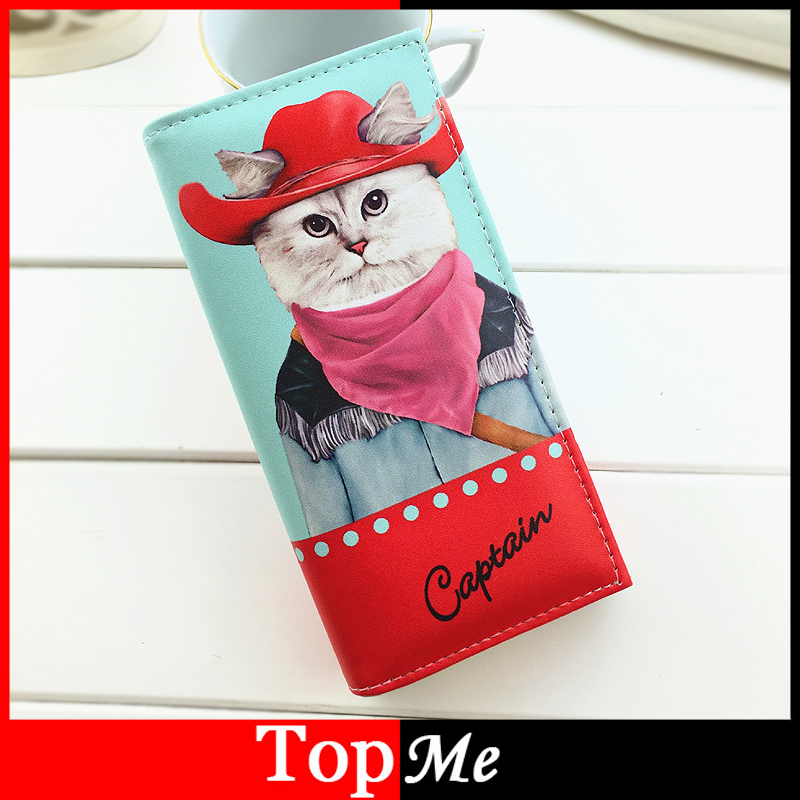 Pop Cartoon Lady Purses PU Leather Cat Prints Clutch Coin Purse Moneybags Girls Handbags Women Wallets Cards ID Holder Burse Bag 2017 new women wallets cute cartoon bear lady purse pu leather clutch wallet card holder fashion handbags drop shipping j442