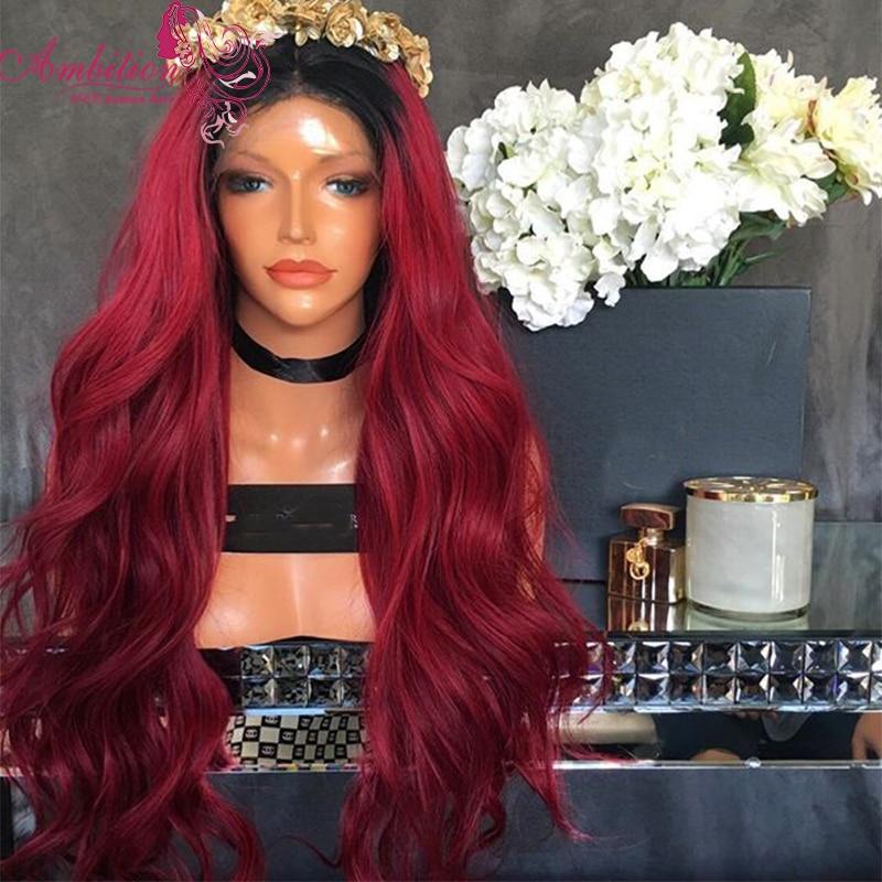7A Grade Glueless 1b/99j ombre 150% Density Lace Front Human Hair Wigs red Brazilian Virgin Human Hair Full Lace Wigs Human Hair