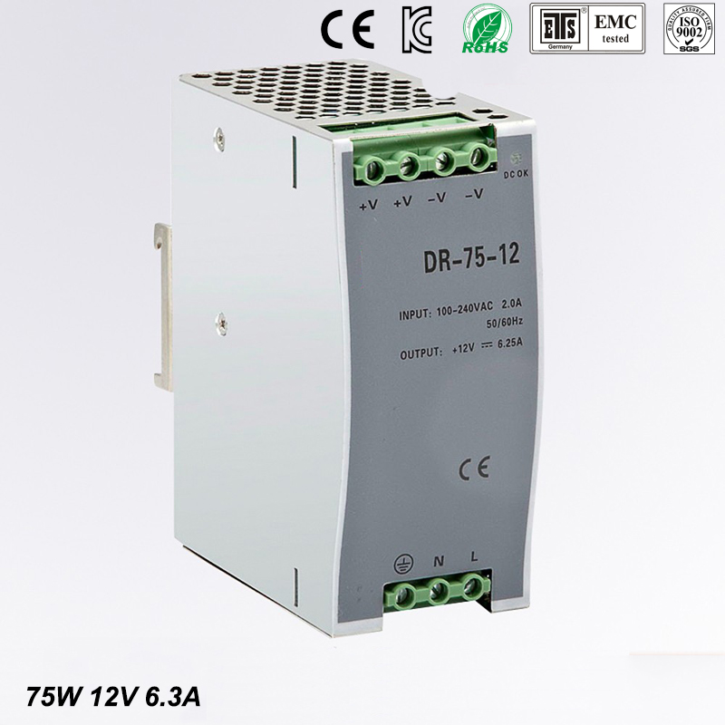 Free Shipping CE RoHS Certificated 75w 12v Din Rail Switching Power Supply For Industry