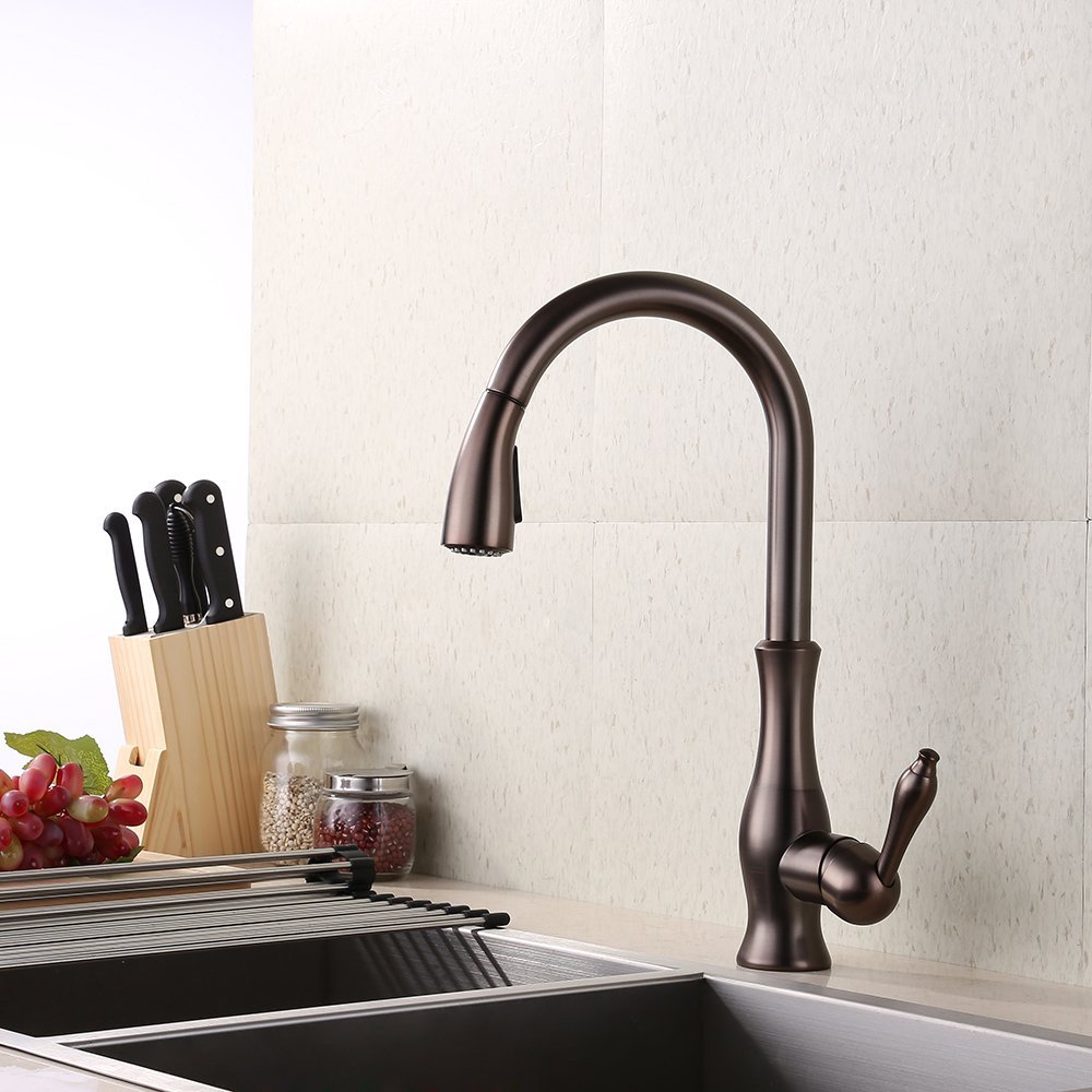 Oil Rubbed Bronze Brass Kitchen Faucet Pull Down Sprayer Farmhouse Tall Pull out Bar Sink Faucet Swivel Pulldown Shower Head