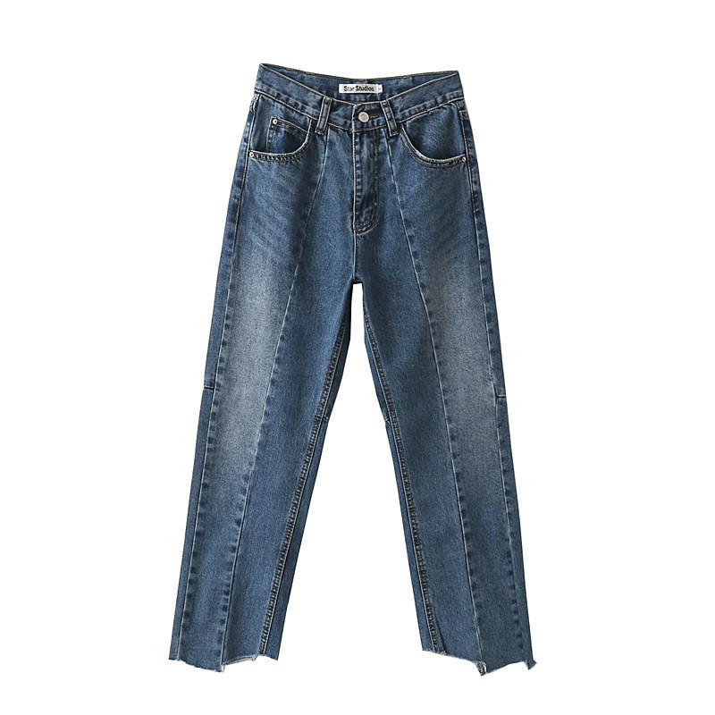 ФОТО New Fashion Women High Waist Jeans Ankle-Length Loose Style Asymmetrical Women Jeans Blue Solid Casual Trousers for Ladies
