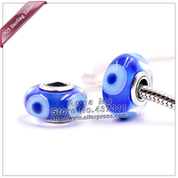 2pcs S925 sterling silver Blue eyes Murano Glass Beads Charms Fit European jewelry Charm Bracelets necklaces & pendants ZS337