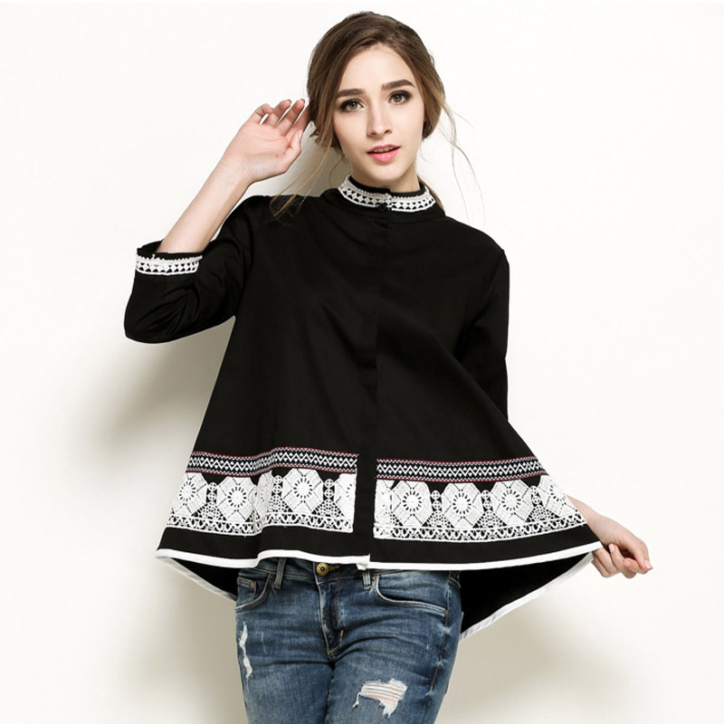 2017 Spring Women Embroidery Lace Tops Blouse Floral Three Quarter Shirt National Tops Casual Cotton Blouses