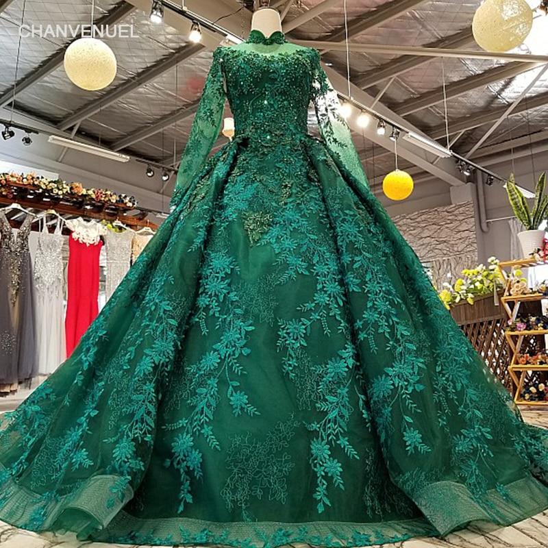 LS0181 Королевский Зеленый с высоким воротом вечернее платье Длинные Тюль рукава на шнуровке сзади бальный наряд красоты вечернее платье для