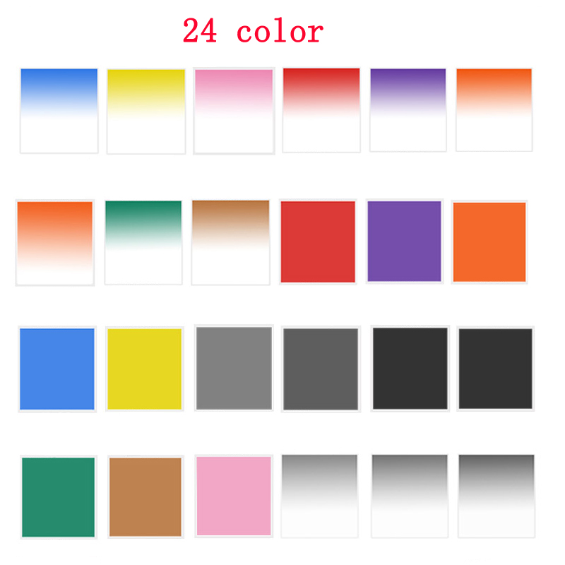 10pcs//lot 24 Color Square Filters Full Color Filters//Graduated Color filers for Cokin P ND UV CPL Filter Graduated ND8