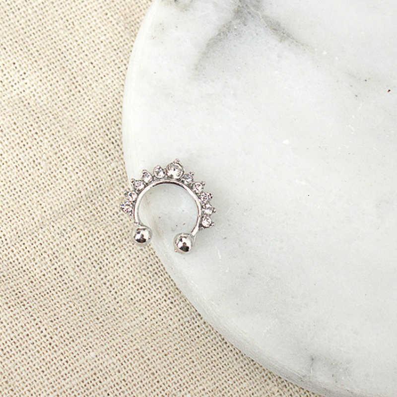 Новое модное серебряное Золотое Черное Красное синее зеленое розовое Кристальное поддельное кольцо для носа, пирсинг, Сексуальные Ювелирные изделия для женщин, аксессуары