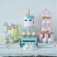 SWEETGO showcase decorating set Artificial Unicorn cupcake fake fondant cake+cake stand& tray+decoration Ornament 43 pcs set