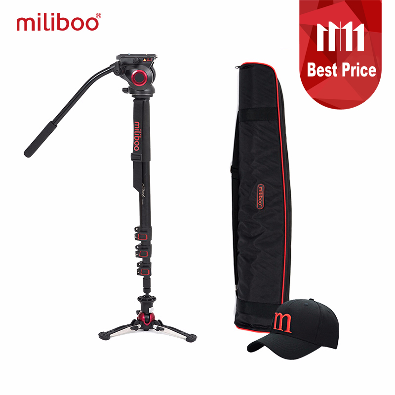 miliboo Aluminum Carbon Portable Fluid Head Camera Monopod Professional Tripod for Camcorder /DSLR Video Stand Max Height 187cm aluminium alloy professional camera tripod flexible dslr video monopod for photography with head suitable for 65mm bowl size