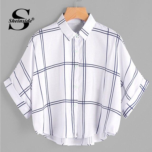 Sheinside решетчатым принтом Dip Подол манжетами блузка 2018 Лето Половина рукава опрятный рубашки Для женщин белый оверсайз с рукавами «летучая мышь» блузка