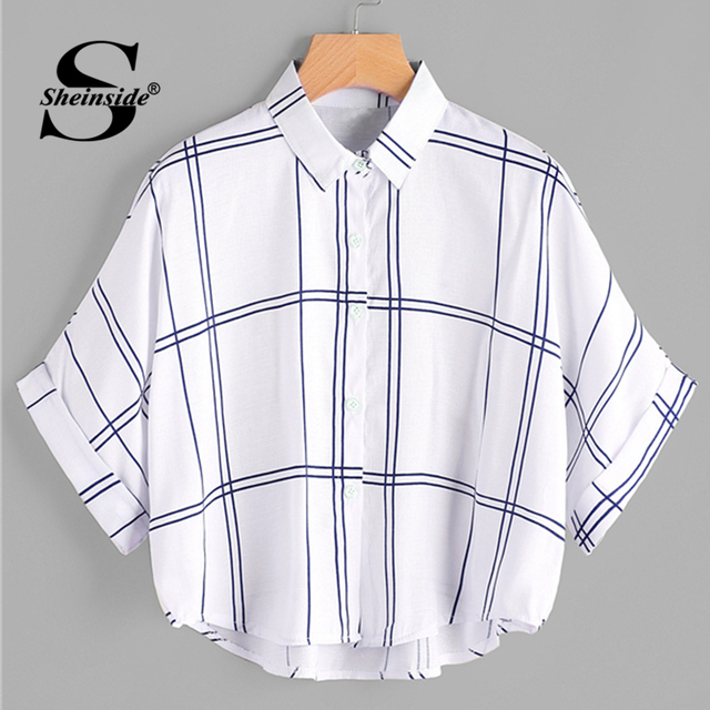 Sheinside Grid Print Dip Hem Cuffed Blouse 2018 Summer Half Sleeve Preppy Shirts Women White Oversized Batwing Sleeve Blouse     by Sheinside