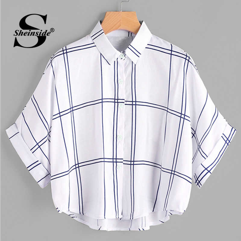 547e4d49d4 Sheinside Grid Print Dip Hem Cuffed Blouse 2018 Summer Half Sleeve Preppy  Shirts Women White Oversized