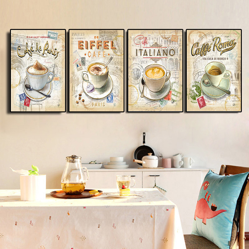 Kitchen Vintage Coffee Paris <font><b>Londo</b></font> Collection Posters and Prints Canvas Painting Scandinavian Art Wall Picture For Living Room image