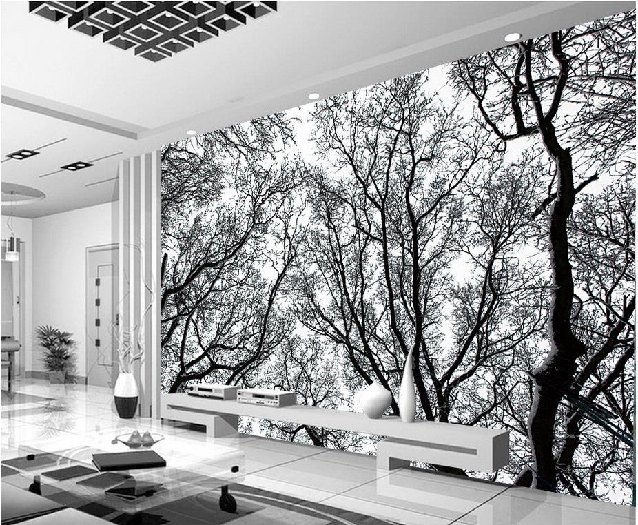 Papier Peint Arbre Noir Et Blanc 9 Photo Mural Papier Peint