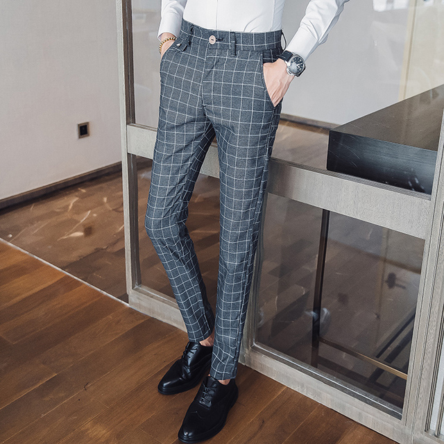 34db136473f6fd Men Dress Pants Plaid Business Casual Slim Fit Pantalon A Carreau Homme  Classic Vintage Check Suit Trousers Wedding Pants 38-in Casual Pants from  Men's ...