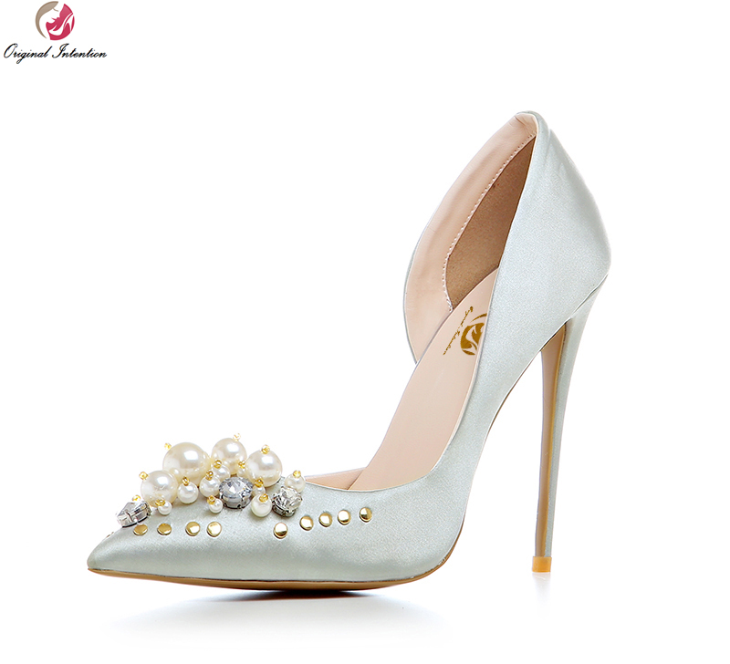 Original Intention Women Wedding Pumps Pointed Toe Thin Heels Pumps High-quality Black Gold Silver Shoes Woman US Size 3.5-10.5 women s pumps high heeled shoes woman thin heels pointed toe silver and gold fashion sexy leather ol office shoes wedding shoes