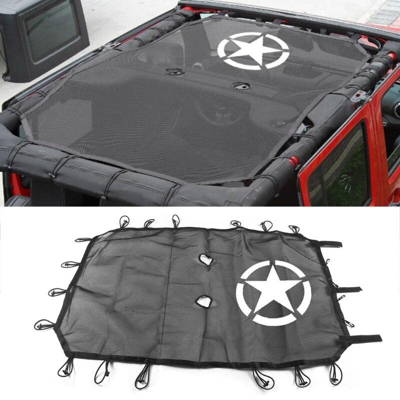 Fit Pour Jeep Pour Wrangler JK 4 Porte Cinq Étoiles Toit Maille Parasol Capot Supérieur UV Protection Voiture de Coiffure couvre