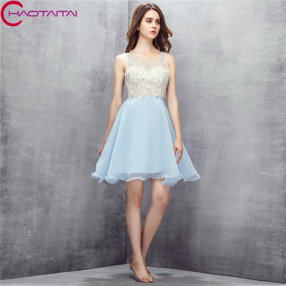 Cheap Organza Short Girls Party Charming Prom Dresses Sequins Beaded
