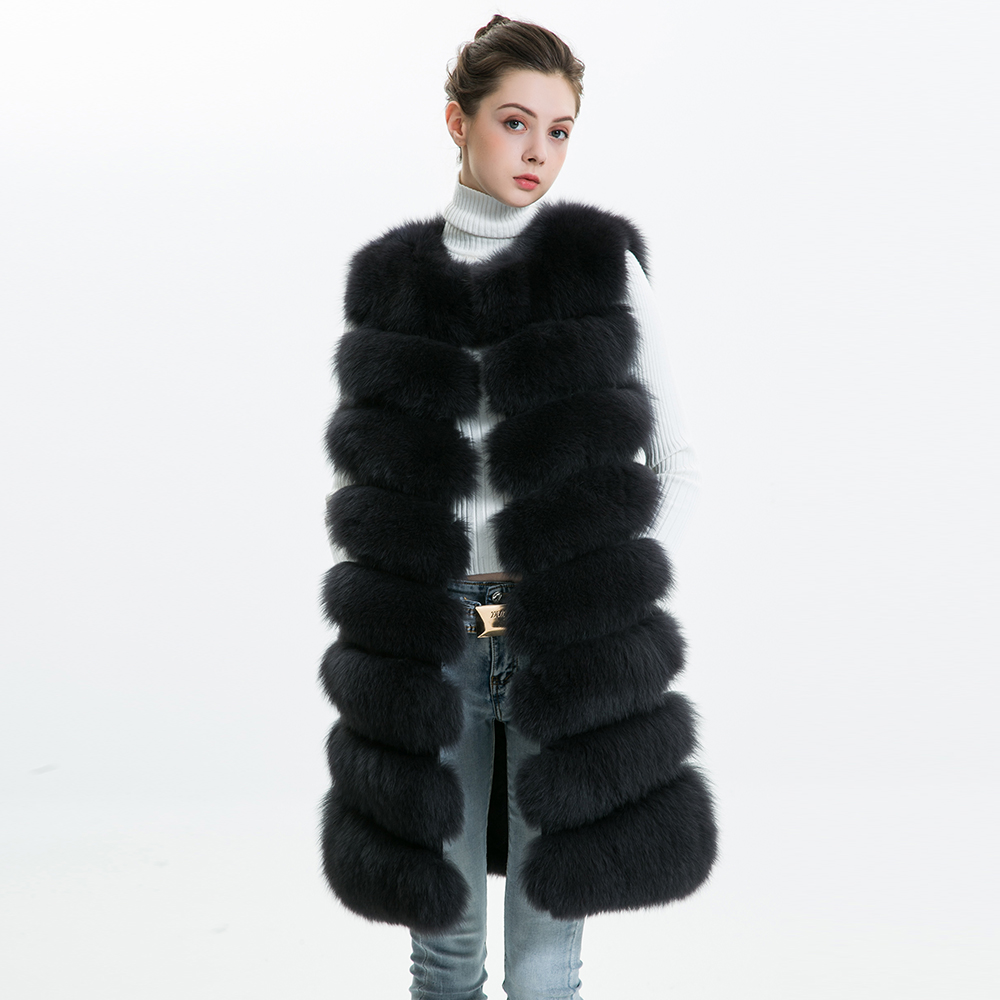 Зимние Для женщин натуральным лисьим мехом жилет женский из натуральной кожи с лисьим мехом жилет Для женщин полным ходом жилет Длинные Нас...