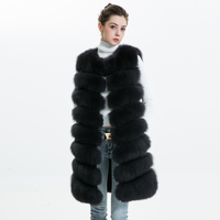 Winter Women Real Fox Fur Vest Female Natural Genuine Leather Fox Fur Vest Women's Full Pelt Waistcoat Long Real Fox Fur Gilet