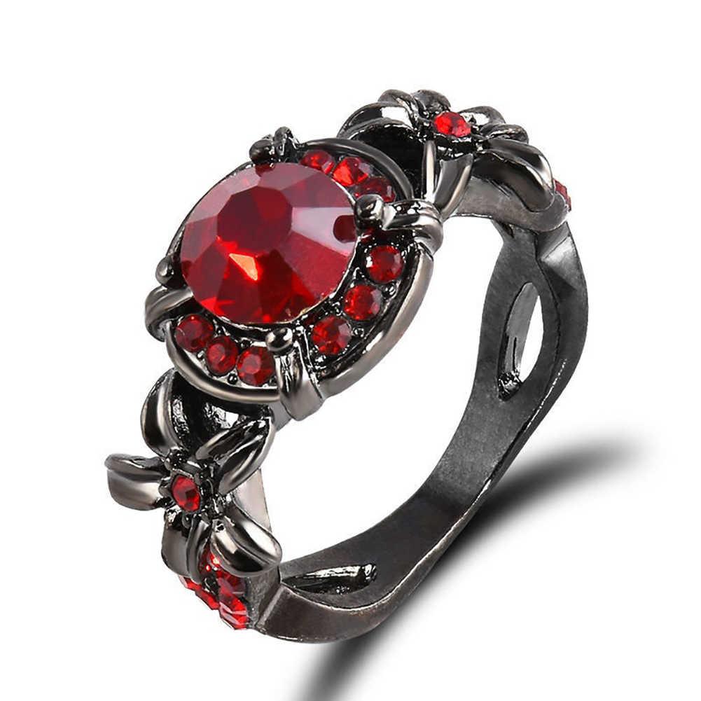 ผู้หญิงใหม่ประดิษฐ์ Retro Sapphire ทับทิม Rhinestones หมั้นแหวนเครื่องประดับ