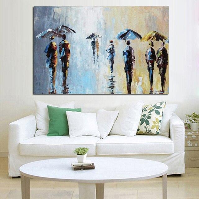 € 24.09 49% de réduction|Livraison gratuite Palette couteau peinture  peintures abstraites pour salon mur personnes sous la pluie mur Art photo  sur ...