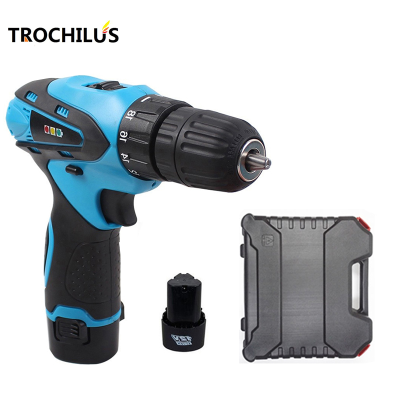 12V Power Tool Cordless Drill Multi-function rechargeable Screwdriver with Lithium Battery * 2 mini  drill Household Toolbox 2000mah rechargeable lithium battery pack for nds lite with screwdriver