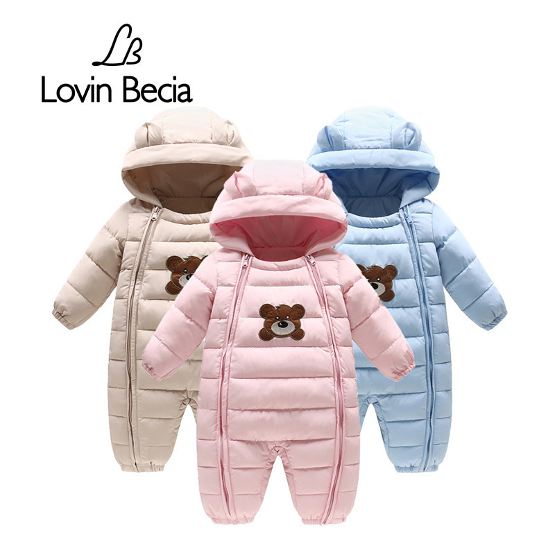 Lovinbecia Baby Winter Rompers Thick Warm Long Sleeve Hooded Jumpsuit Kid Newborn Outwear Baby boy feathers cotton Clothing suit 2017 new baby rompers winter thick warm baby boy clothing long sleeve hooded jumpsuit kids newborn outwear for 0 12m baby girls