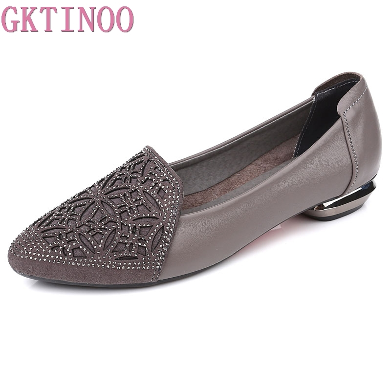 GKTINOO Flats Woman 2020 New Arrival Rhinestone Pointed Toe Gauze Women Shoes Genuine Leather Comfortable Flat Shoes Size 34-43