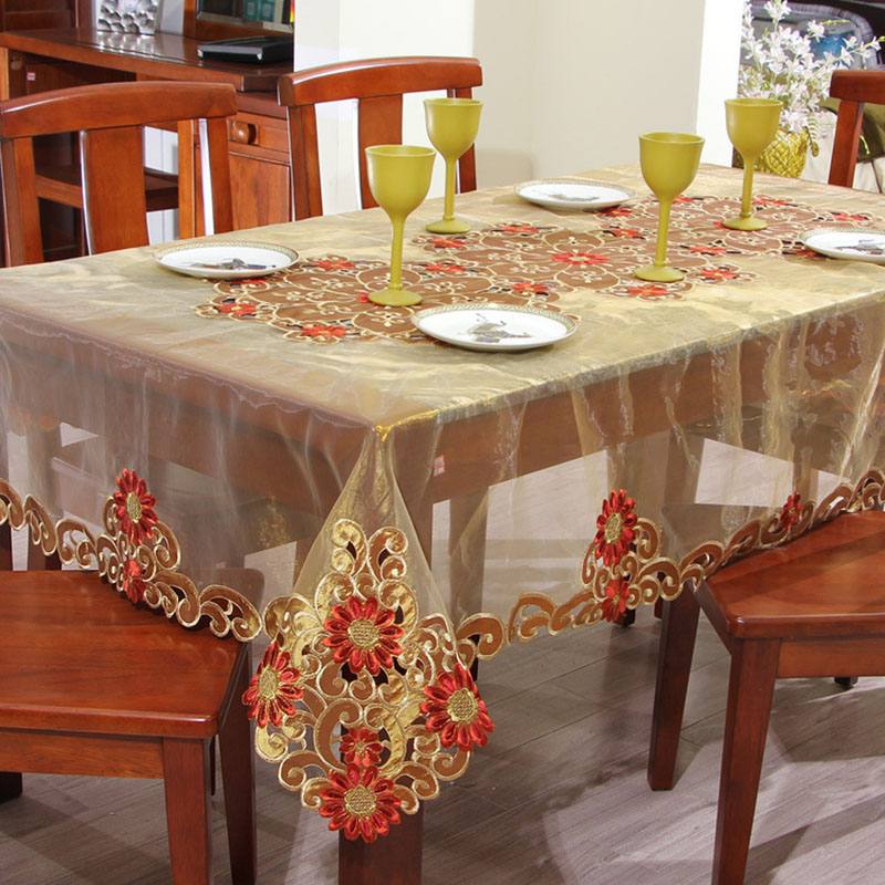 1PCS Table Cloth Rectangular Home Embroidered Hotel Dining