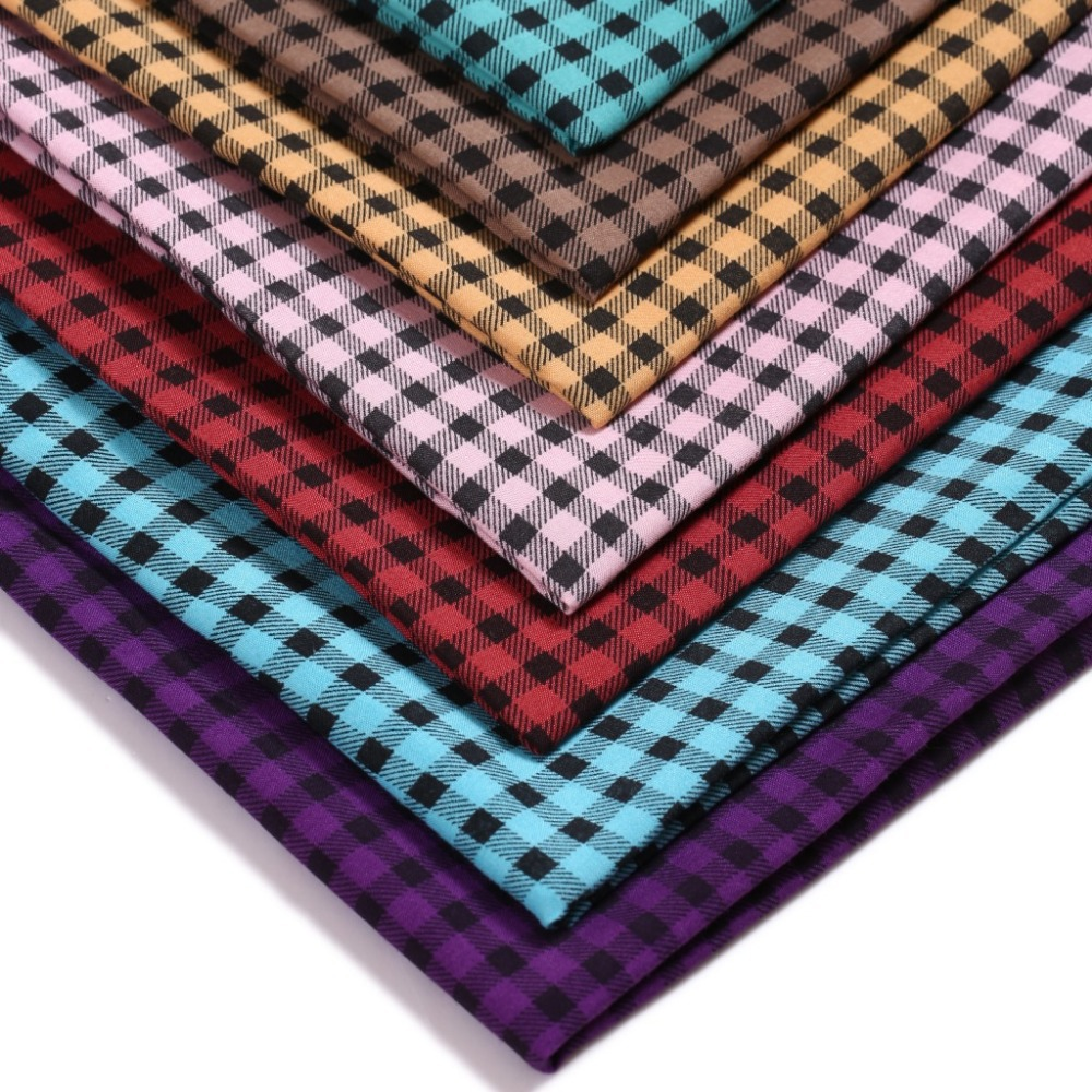 Dark plaid polyester fabric  calico  printed polyester fabric  stylish wholesale supply of quality assurance sewing diy
