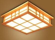 일본 천장 조명 램프 led 광장 45-55 cm 플러시 마운트 조명 다다미 장식 나무 침실 거실 실내 랜턴 램프