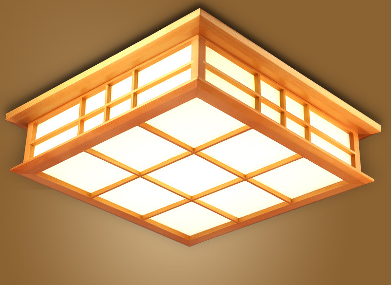 Japanese Ceiling Light Lamp LED Square 45-65cm Flush Mount Lighting Tatami Decor Wooden Bedroom Living Room Indoor lantern Lamp japanese led ceiling light ac90 265v indoor lighting square 45 55cm solid wood natural bedroom living room lamp foyer lamps